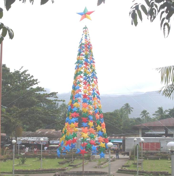 The biggest Christmas Tree composed of colorful star lanterns in the municipal grounds of LGU Alegria made possible through the support and cooperation of Municipal Officials and Employees