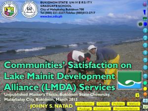 Communities' Satisfaction on LMDA Services